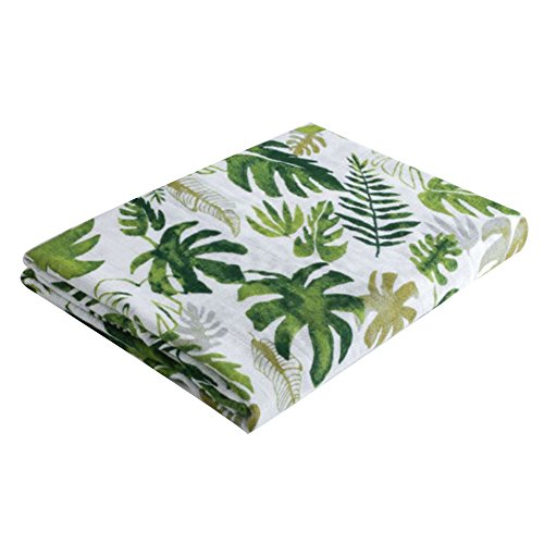 BELUPAI Muslin Swaddle Blankets, 47x47inch Breathable Organic Cotton Gauze Baby Towel Receiving Blanket Perfect for Unisex Babies Shower Gift (Tropical Palm Leaves)