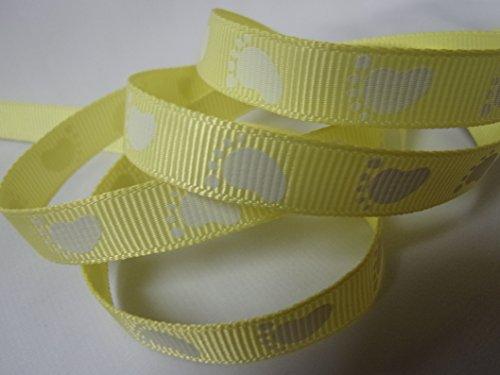 Grosgrain Ribbon - Yellow Baby Foot Print - 3/8