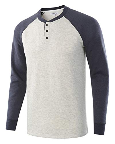 (HARBETH Men's Casual Soft Fleece Baseball Henley Sweatshirt Pullover Sweater H.Oatmeal/C.Blue L)