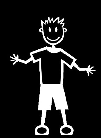 My Stick Figure Family Autoaufkleber Aufklerber Sticker Decal älterer Junge Mit Normaler Kleidung Tm8 Auto