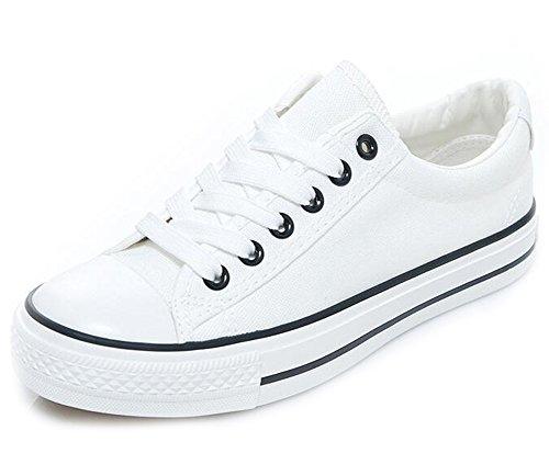 Sneakers Basse Basse In Tela Bianca Con Punta Arrotondata Per Donna Moda Easemax