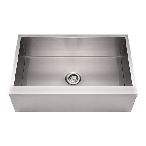 Whitehaus WHNCMAP3321-BSS Noah'S Collection 33-Inch Commercial Single Bowl Front Apron Sink, Brushed Stainless ()
