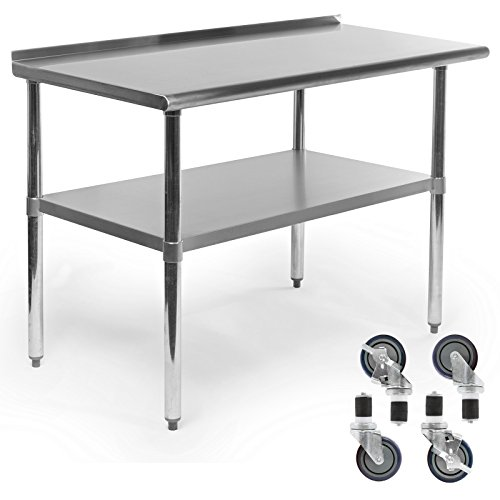 Gridmann NSF Stainless Steel Commercial Kitchen Prep & Work Table w/Backsplash Plus 4 Casters (Wheels) - 48 in. x 24 in. - smallkitchenideas.us
