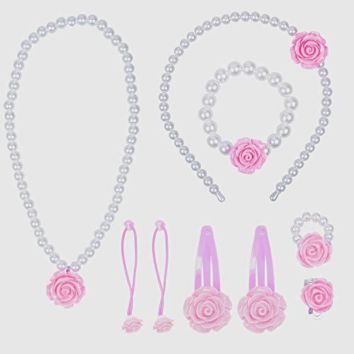 Larcenciel Kids Jewelry Necklace Bracelet Ring Earring Headband Hairpin Set Imitation Pearls for Little Girls Children Play Pretend Dress Up (Pink)