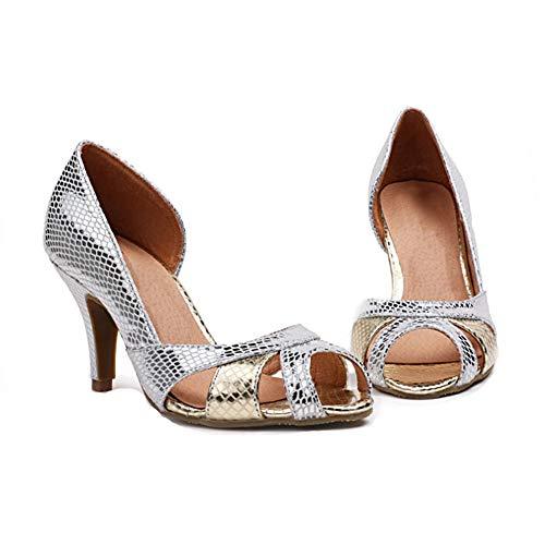 Paillettes Haut Chaussures Creux Haut Hauteur Pompes Mode 6Cm Slim Femmes De La Ouvert De Bouche Talon Talon Talon Bout Silver Poisson Simples qqfpw6P