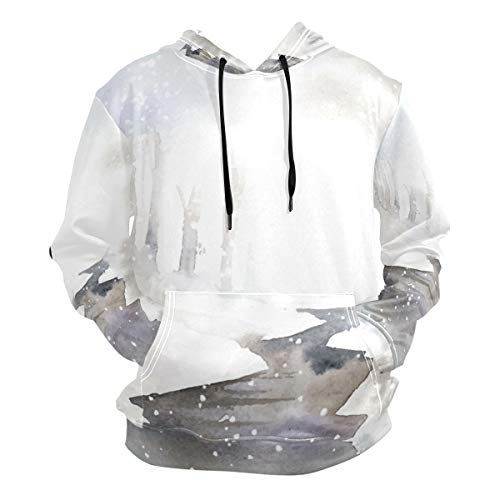 (Nanmma Watercolor Winter Wonderland Pullover Sweatshirt Hoodies with Big Pockets Trendy Unisex Hooded)