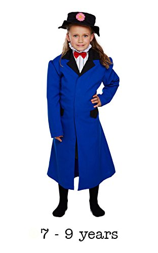 Mary Fancy Dress Costumes (Girls Childrens Victorian Nanny Poppins Fancy Dress Costume for School Mary Outfit 7-9 Years by Partypackage Ltd)