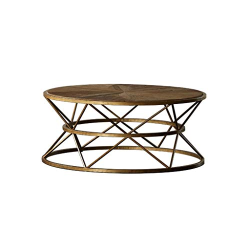 Y-Leah Vintage Industrial Textured Wood Round Coffee Table, Unique Hourglass Shape Design Metal Wrought Iron Frame