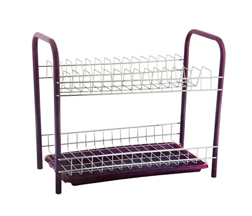 Pindia Chrome Stainless Steel 2 Tier Dish Drainer Rack, Multicolor