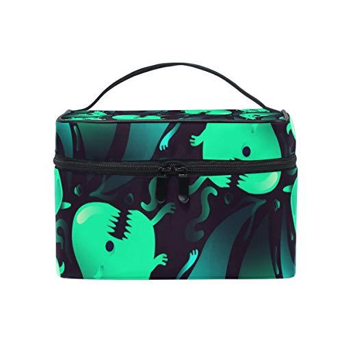 Jojogood Ghost Creepy Halloween Background Large Cosmetic Bag Travel Makeup Toiletry Organizer Case for Women Girls
