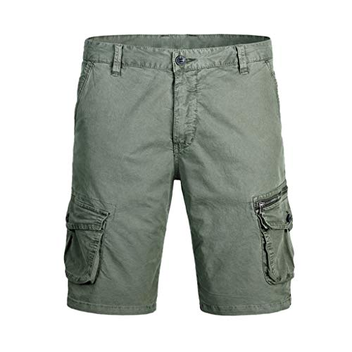 Mbtaua Men Pants Men's Casual Solid Outdoor Pocket Cargo Shorts Sport Pants Work Pants Men Pants Army Green ()