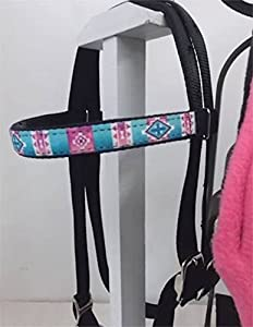 Party Ponies MINIATURE HORSE/SM PONY BAREBACK SADDLE PAD AND BRIDLE SET - BRIGHT PINK W/TURQUOISE OVERLAY BRIDLE