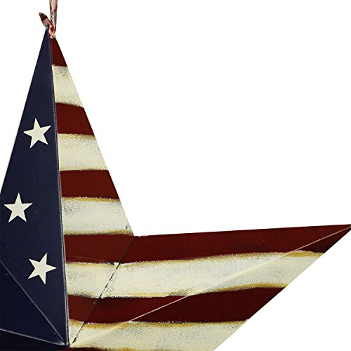YK Decor Patriotic Old Glory American Flag Barn Star 4th of July Rustic Metal Dimensional 3D Star Wall Decor, (22'') by YK Decor (Image #1)