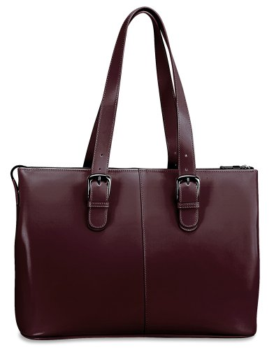Black Milano Leather Handbags - Jack Georges Milano Collection Madison Avenue Laptop Tote (Cherry)