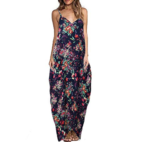 CCatyam Plus Size Dresses for Women, Skirt Print Sexy Loose Maxi Casual Cocktail Party Fashion Navy