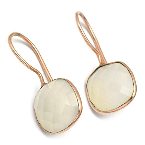 The V Collection Earrings Gold Plated White Chalcedony Gemstone Handmade Dangling Earrings for Women and Girls
