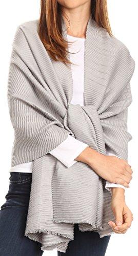 Sakkas 1749 - Cara Pleated Crinkle Soft and Warm Shawl/Wrap/ Stole - Light Grey - OS