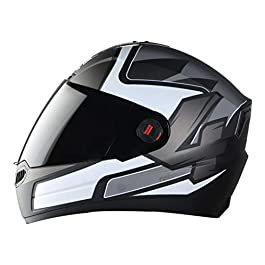 Steelbird SBA-1 Robotics ABS Material Shell Full Face Helmet in Matt Finish Fitted with Clear Visor and Extra Smoke…