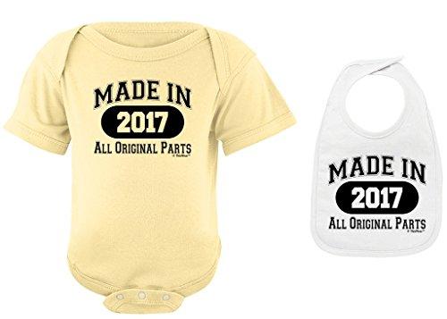 Baby Shower Gift Newborn Birthday or 1st Birthday Gift Made 2017 Banana Bodysuit and White Bib Bundle 18 Months
