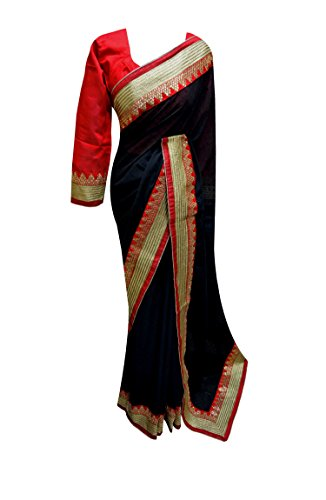 Women's Indian Black & Red contrast saree with zari and sequins border 7102 - Red Indian Womens Costume Uk