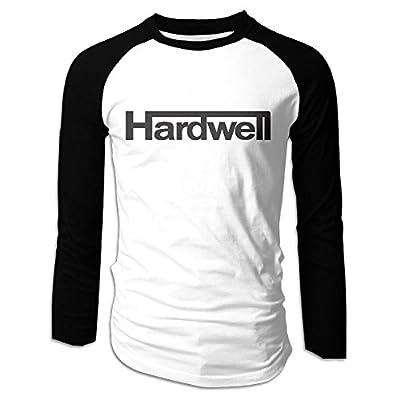 Creamfly Mens DJ Hardwell Letter Long Sleeve Raglan Baseball Tshirt