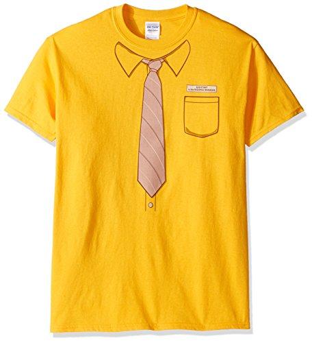 Dwight Office Halloween (T-Line Men's The Office TV Series Dwight Work Shirt Graphic T-Shirt, Mustard,)