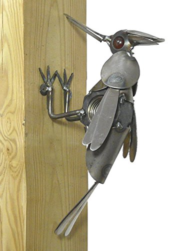 Yardbirds Industrial Garden Woodpecker - American Made Recycled Metal Outdoor Wall Sculpture, 11.5