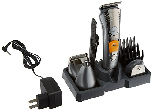 Kemei KM 580A 7 in 1 Rechargeable Grooming Kit Multifunctional Unisex Hair Clipper and Trimmer  Silver