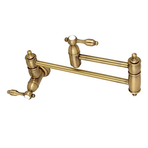 Kingston Brass KS3103TAL Tudor Pot Filler Faucet, 13 Inch Length, Antique Brass