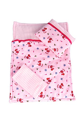 Perfect Bedding - 3 piece - Pink cozy bedding includes comforter, blanket and pillow - 18 inch Doll Bedding (Perfect Sleepover pajama outfit sold separately) ()