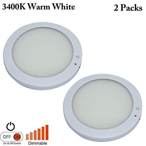 Facon 5Inch LED RV Panel Light Surface Mount 12V DC Interior Light with On/&Off Switch and Indicator for RV Motorhome Camper Caravan Marine Warm White