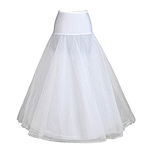 BEAUTELICATE A-line Full Gown Floor-Length Bridal Dress Gown Slip Petticoat White L