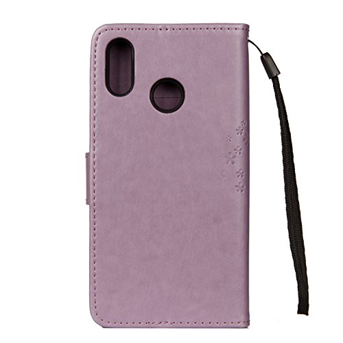 EUWLY Leather Case for [Huawei P20 Lite],PU Leather Fold Wallet Pouch Case Wallet Flip Cover Bookstyle Magnetic Closure with Card Slots & Stand Function Anti-Scratch Anti-Shock Slim Protective Case Co Purple