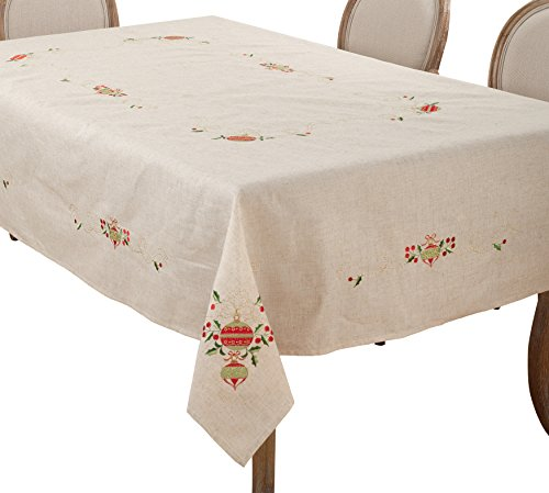 SARO LIFESTYLE Embroidered Ornament Design Christmas Linen Blend Tablecloth, 67'' x 160'', Natural by SARO LIFESTYLE