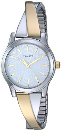 - Timex Women's TW2R98600 Stretch Bangle Crisscross 25mm Two-Tone Expansion Band Watch