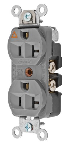 Hubbell CR5352IGGY Spike Shield HBL Extra Heavy Duty Construction Series Straight Blade Isolated Ground Duplex Receptacle, 125V, 20A, 1 HP, 2-Pole, 3-Wire, Gray