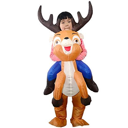 Inflatable Deer Costume (Festnight Kids Christmas Reindeer Inflatable Costume Suit Blow Up Inflatable Fancy Dress Jumpsuit for Dress Up Party Stage)