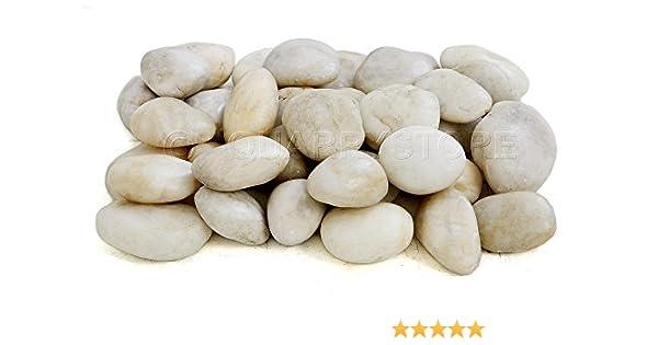 Quarrystore - Guirnalda decorativa para jardín, color blanco natural y crema, tamaño aproximado de 50 mm a 80 mm, ideal para exteriores, piedras decorativas para decoración de plantas o características o para