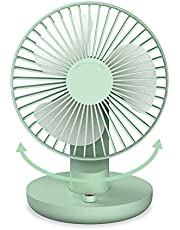 SMARTDEVIL Portable Desk Fan, Lower Noise, USB Rechargeable Battery Operated Fan with Multiple Speeds, 3000Mah Battery for Home, Office, Dormitory,Desktop,Table Fans,120 degree adjustment (Green)