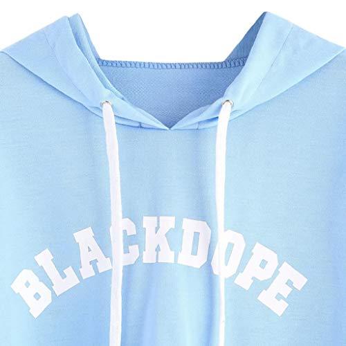 Sweatshirt Blanche Trydoit Capuche Longues Manches Femme Bleu Chemise OqvFwgd