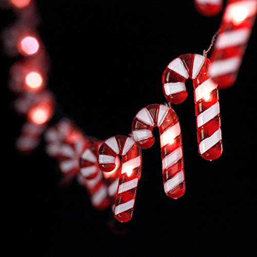 Impress Life Candy Cane Christmas Theme String Lights, 10ft 30 LED 3D Plus Twinkle Lights, USB Battery-Powered with 8 Flicker Modes Remote for St. Nikolas Day, Bedroom, Porch, Wedding, Birthday Ideas