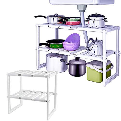 WEBI Under Sink Organizer:2 Packs,2 Tiers,Expandable,Adjustable Shelf Organizer, Bathroom Kitchen Shelf Rack for Pots,Pans,Cleaner,Stainless Steel Cabinet Organizer