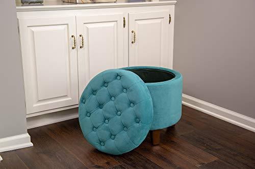 Astonishing Kinfine K6171 B122 Round Tufted Storage Ottoman 19 X 18 Teal Pdpeps Interior Chair Design Pdpepsorg