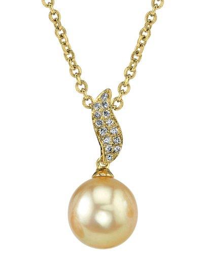 Mer du Sud d'or diamant et perle de culture Zoey Pendentif en or 14K