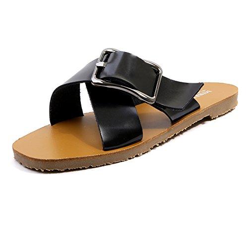 KJJDE Mujer Zapatos Planos Vendaje XYM-555-1 Hebilla De Cinturón De Personalidad Peep-Toe Planas Chanclas Sandalias Romanas Casuales Zapatos De Playa black