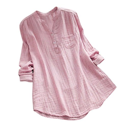 Casual Spring Autumn Long Sleeve Henley T Shirts Solid Button Polo Tops Pullover with Pocket (XL, Pink) -