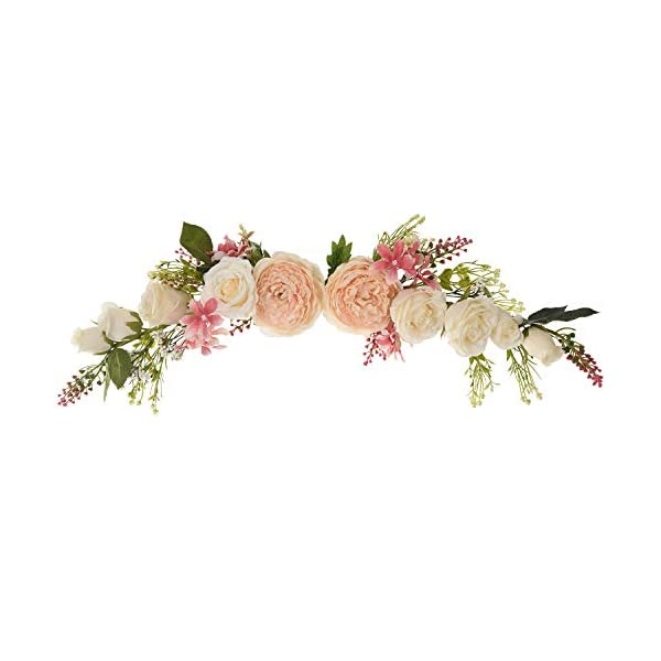 Lvydec Artificial Poeny Flower Swag, 25 Inch Decorative Swag with Champagne Poeny White Rose and Green Leaves for Wedding Arch Front Door Wall Decor