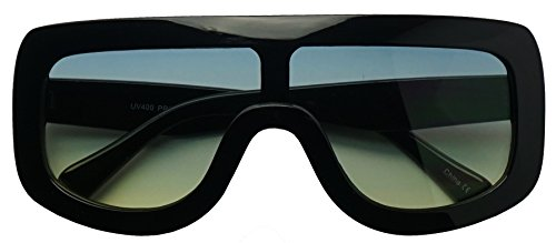 Large Oversized Full Shield Squared Bold Flat Top Sunglasses Retro goggle Shades (Black | Blue, - Frame With Ce Thick Sunglasses