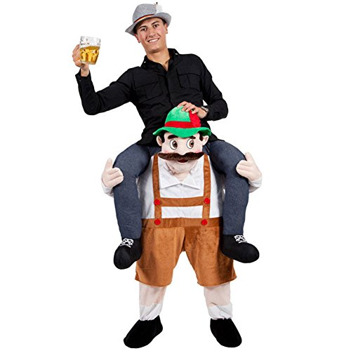 [New Carry Me Mascot Beer Guy Beer Ride On Mascot Piggy Back Carry Me Oktoberfest Fancy Party Dress Costume Halloween] (Hot Halloween Costumes For Guys)