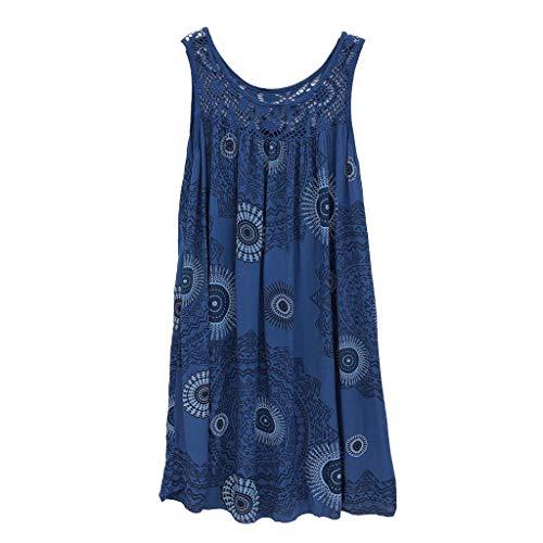 ★QueenBB★ Women's Summer Sleeveless Bohemian Print Tunic Swing Loose Pockets Knee Length T-Shirt Dress Blue (Best Push Up App)